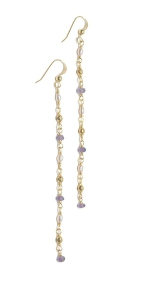 dangle chain flower long faux pearl earrings gem com rosegal chic white