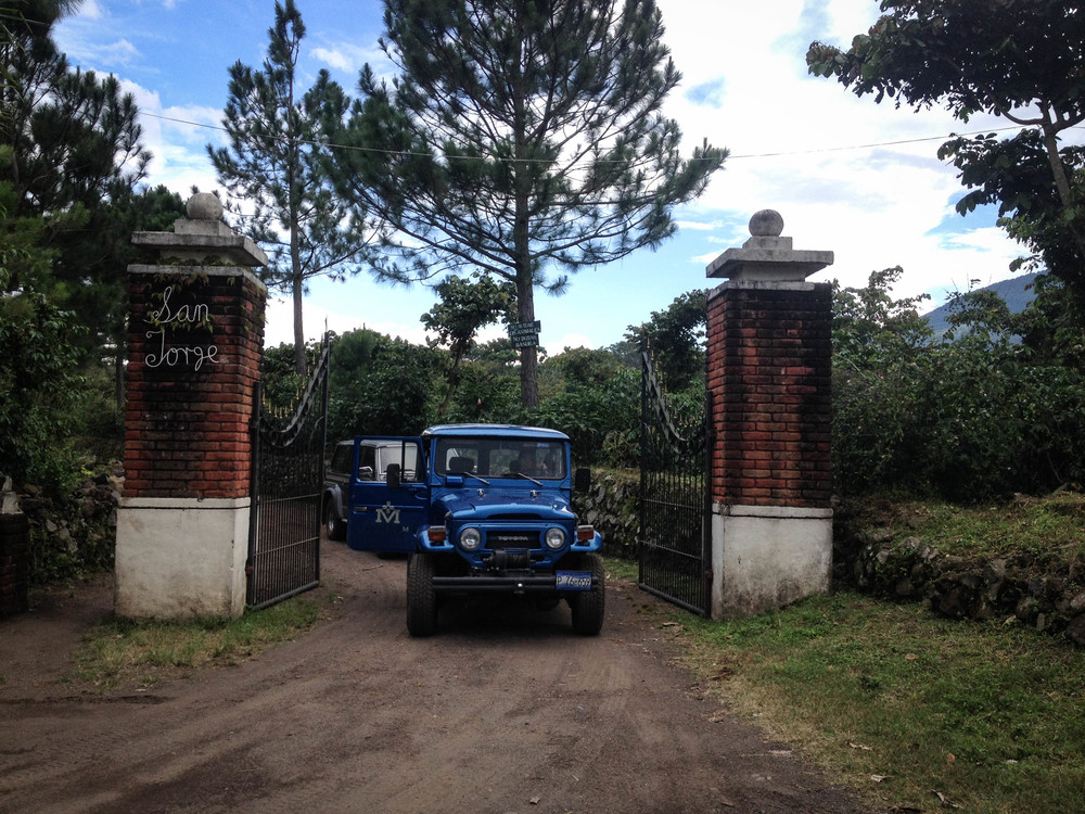 Farm gate at Finca San Jorge, in Santa Ana.