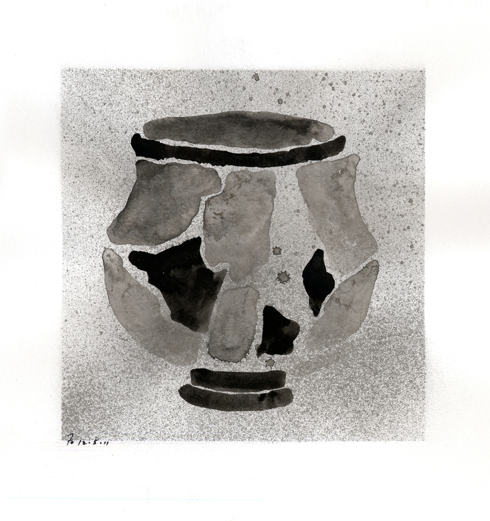 Drawing #17  , 2012, india ink on paper, 12 x 12 in.