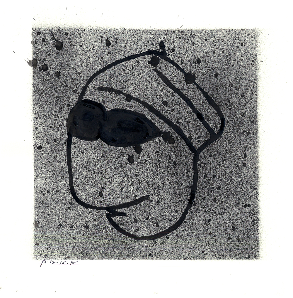 Drawing #11  , 2013, india ink on paper, 12 x 12 in.