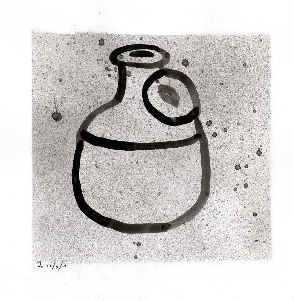 Drawing #10  , 2012, India ink on paper, 12 x 12 in.v