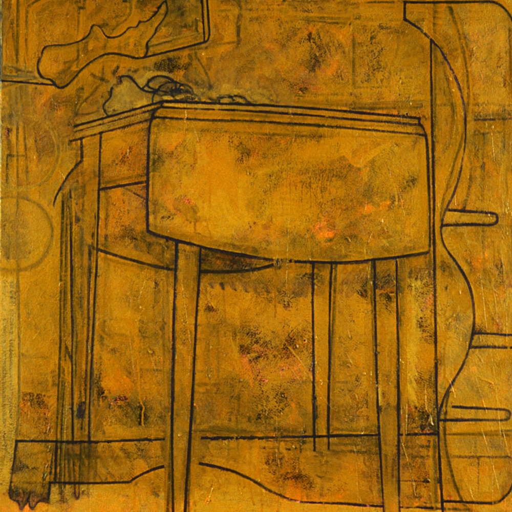 Bone on Table,   1986, oil and wax on canvas, 30 x 30 in.