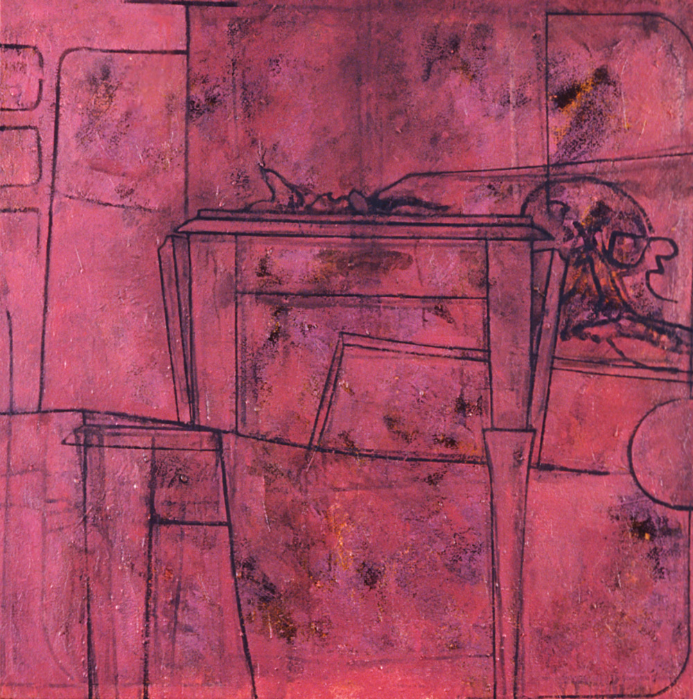 Chubb and Bones,   1987, oil and wax on canvas, 60 x 120 in.