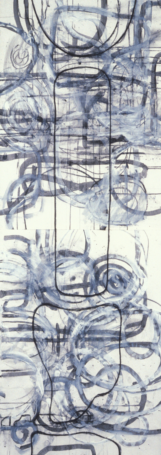 Untitled #3  , 1989, charcoal and gesso on paper, 60 x 22 in.