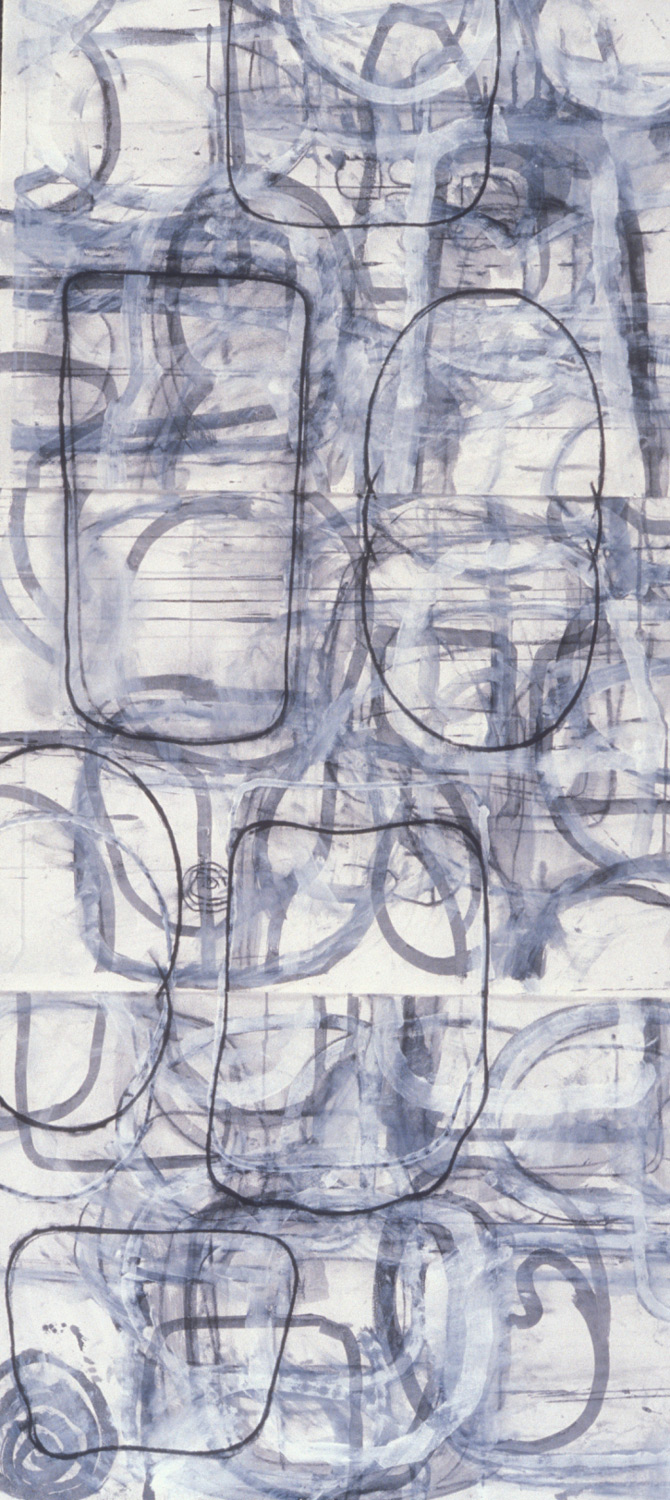 Untitled Study #9  , 1990, charcoal and gesso on paper, 66 x 30 in.