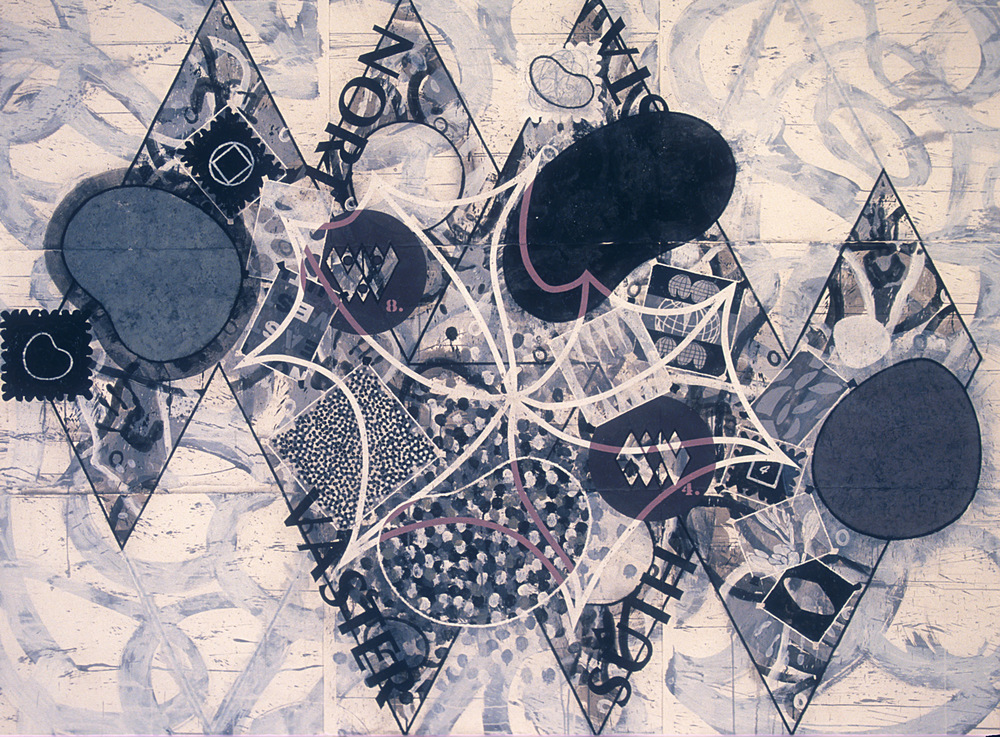 Study for North by Northwest,   1992, acrylic, charcoal and gesso on paper, 66 x 90 in.