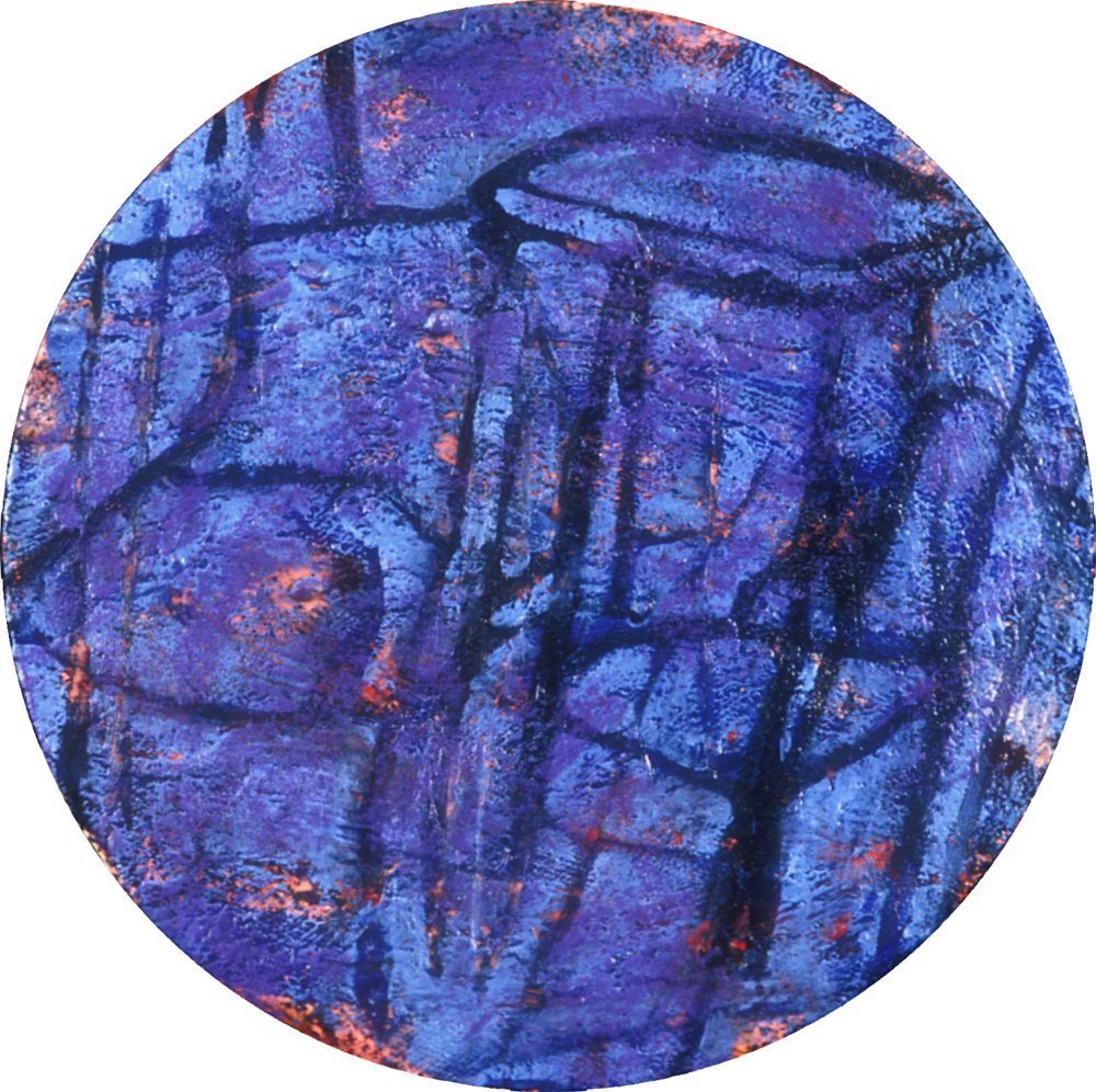 Blue Stool,   1989, oil and wax on canvas, 12 in. diameter