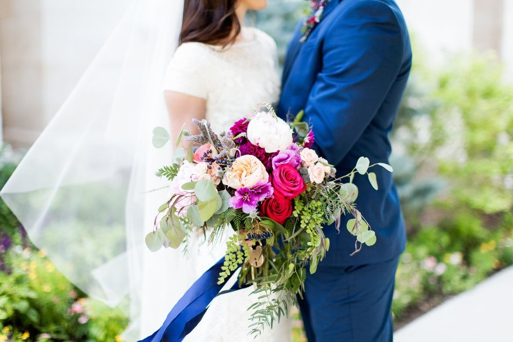 fuchsia, pink and navy bridal bouquet