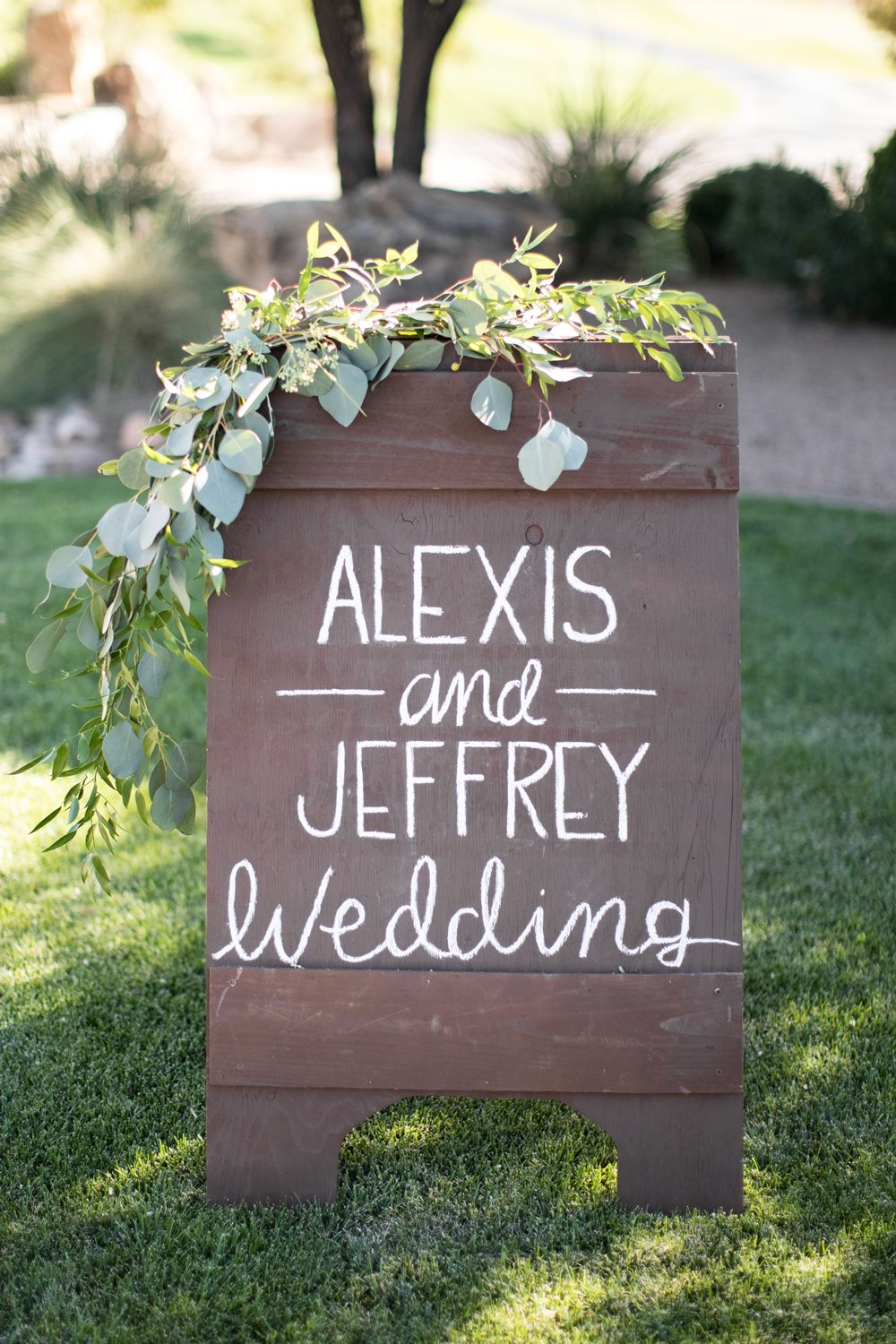 wedding sign with garland