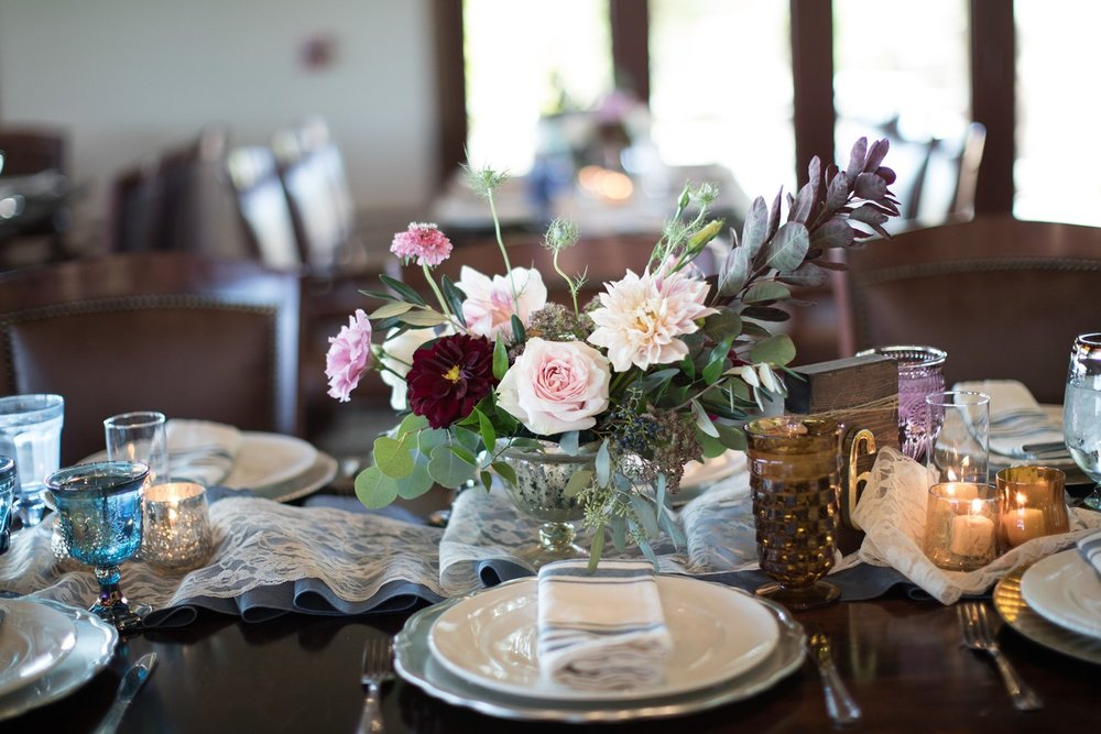 blush and burgandy centerpiece