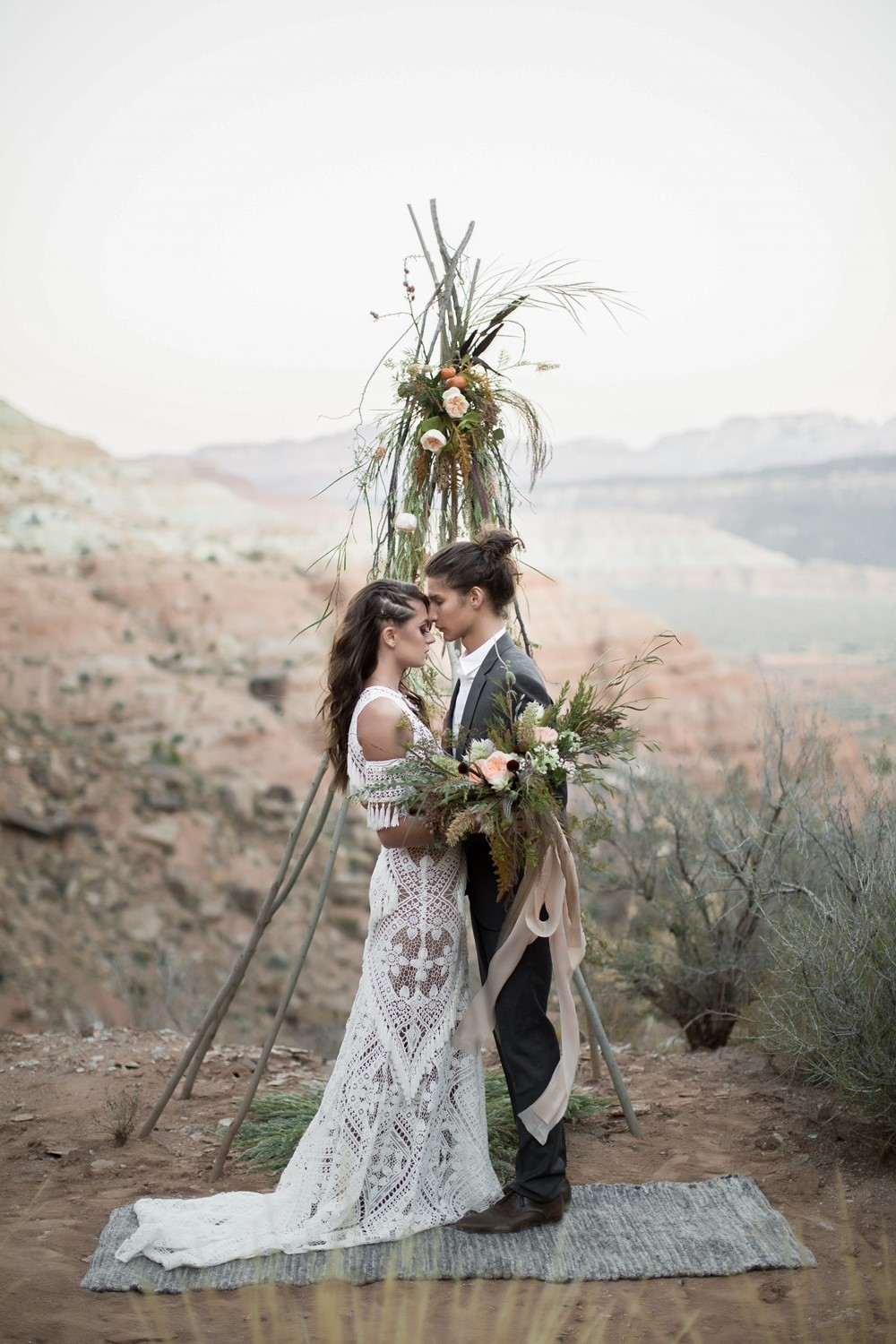 zion wedding ceremony backdrop