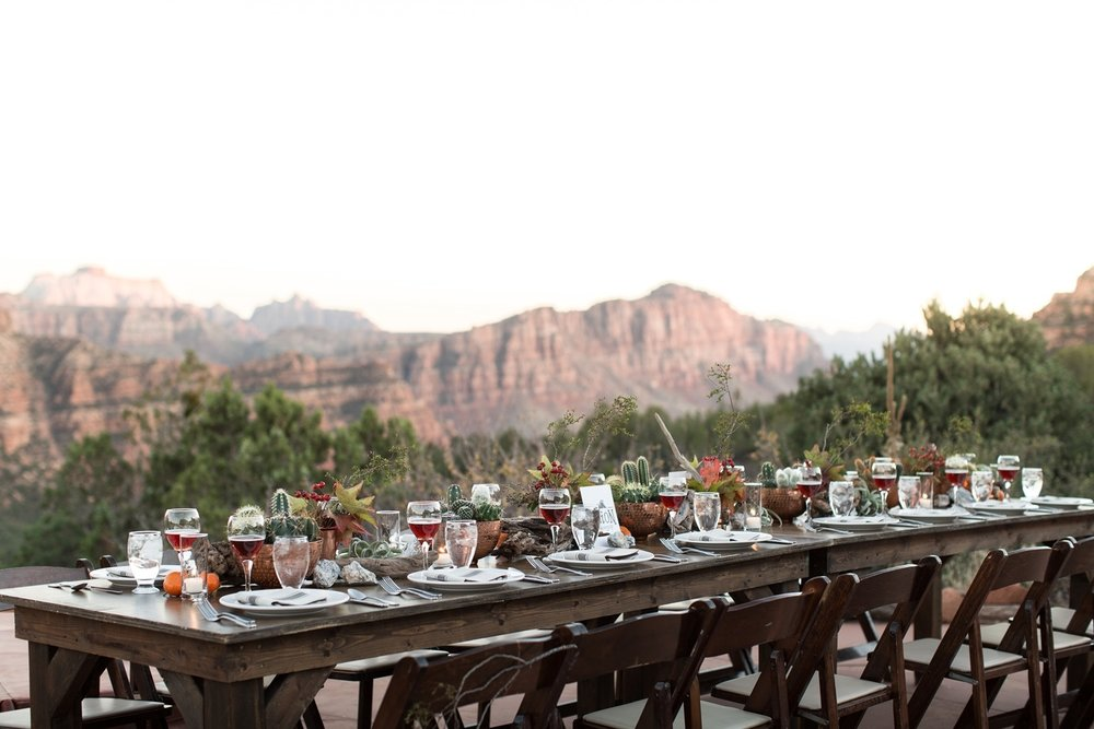 zion elopement tablescape