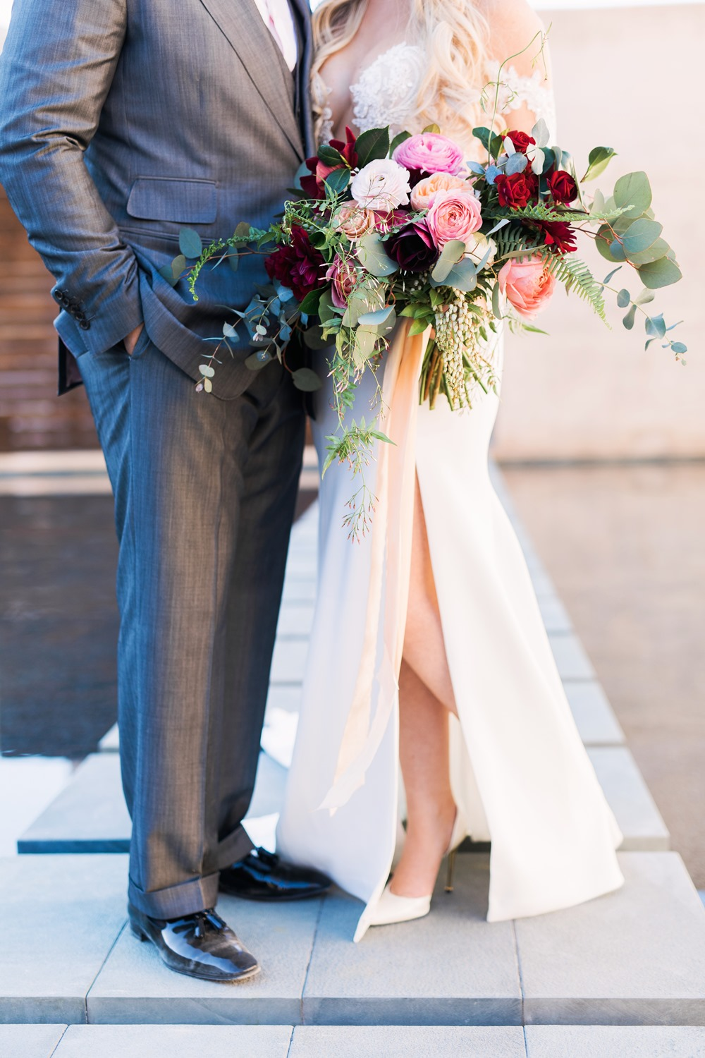 burgundy + blush + marsala bridal bouquet
