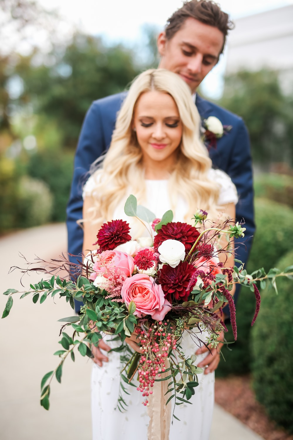 pink + red bridal bouquet