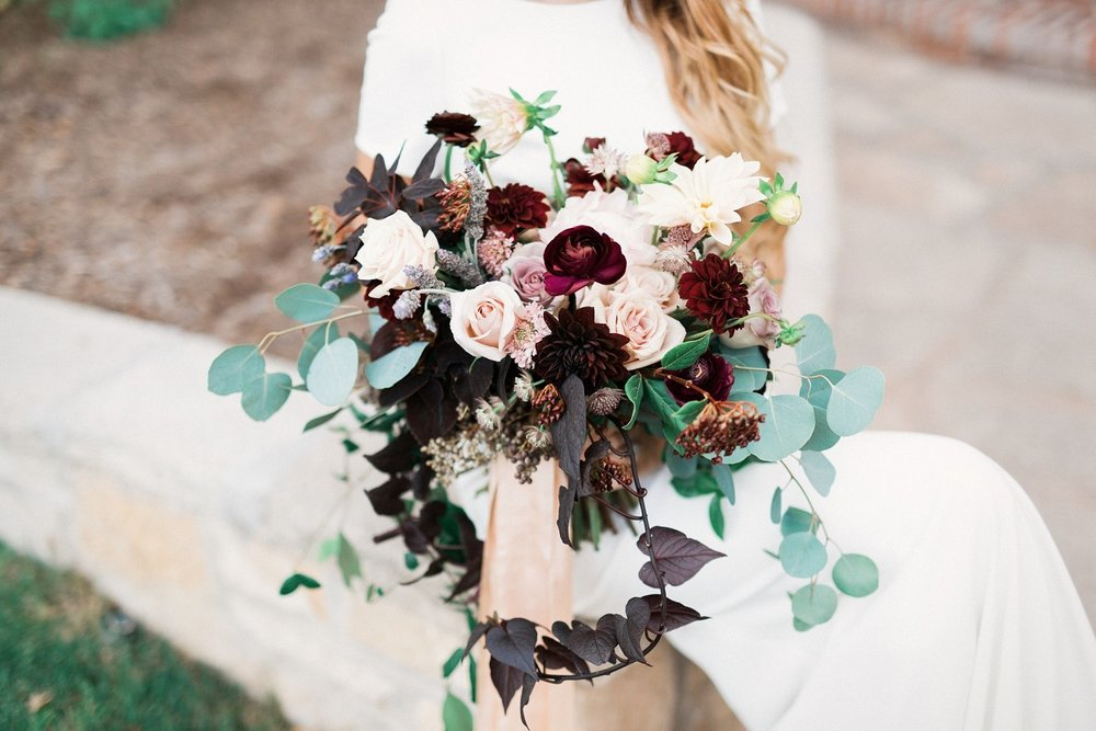 blush + plum bridal bouquet