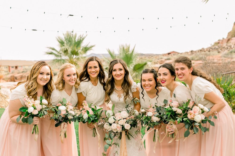 blush and peach bridesmaid bouquets