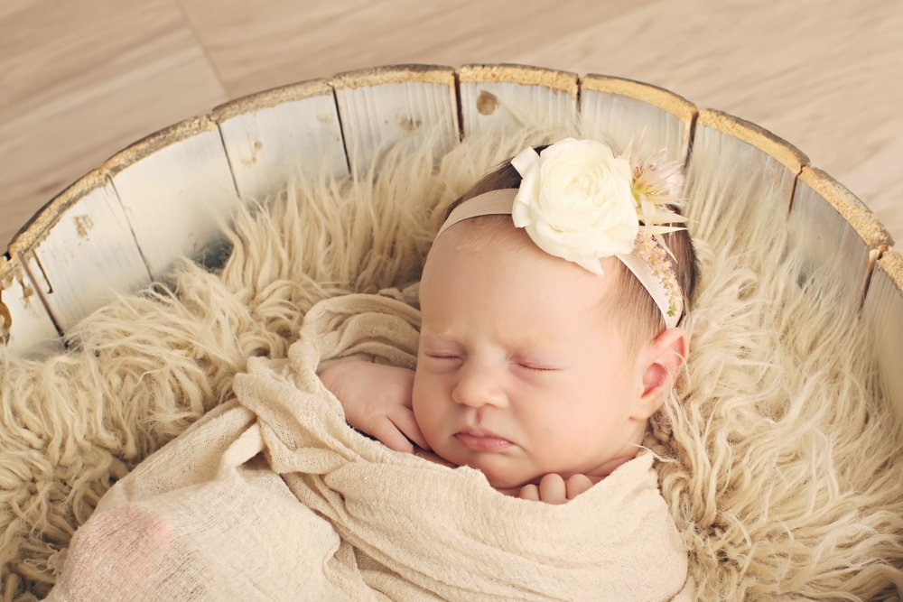 cream newborn flower crown