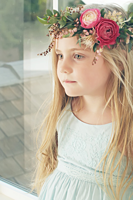 pink ranunculus floral crown