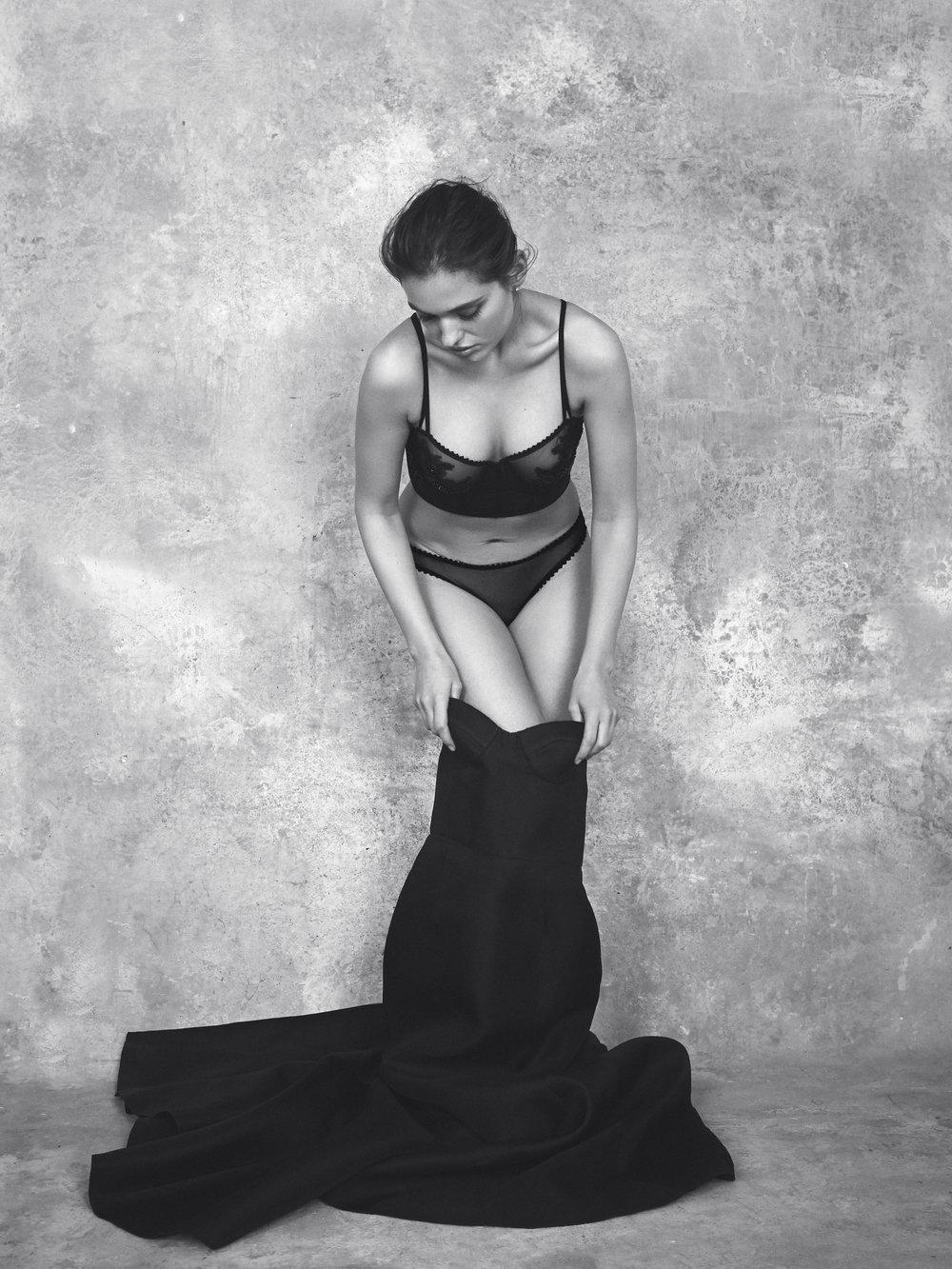 Kharis bespoke long line bra and Colette sheer panty.