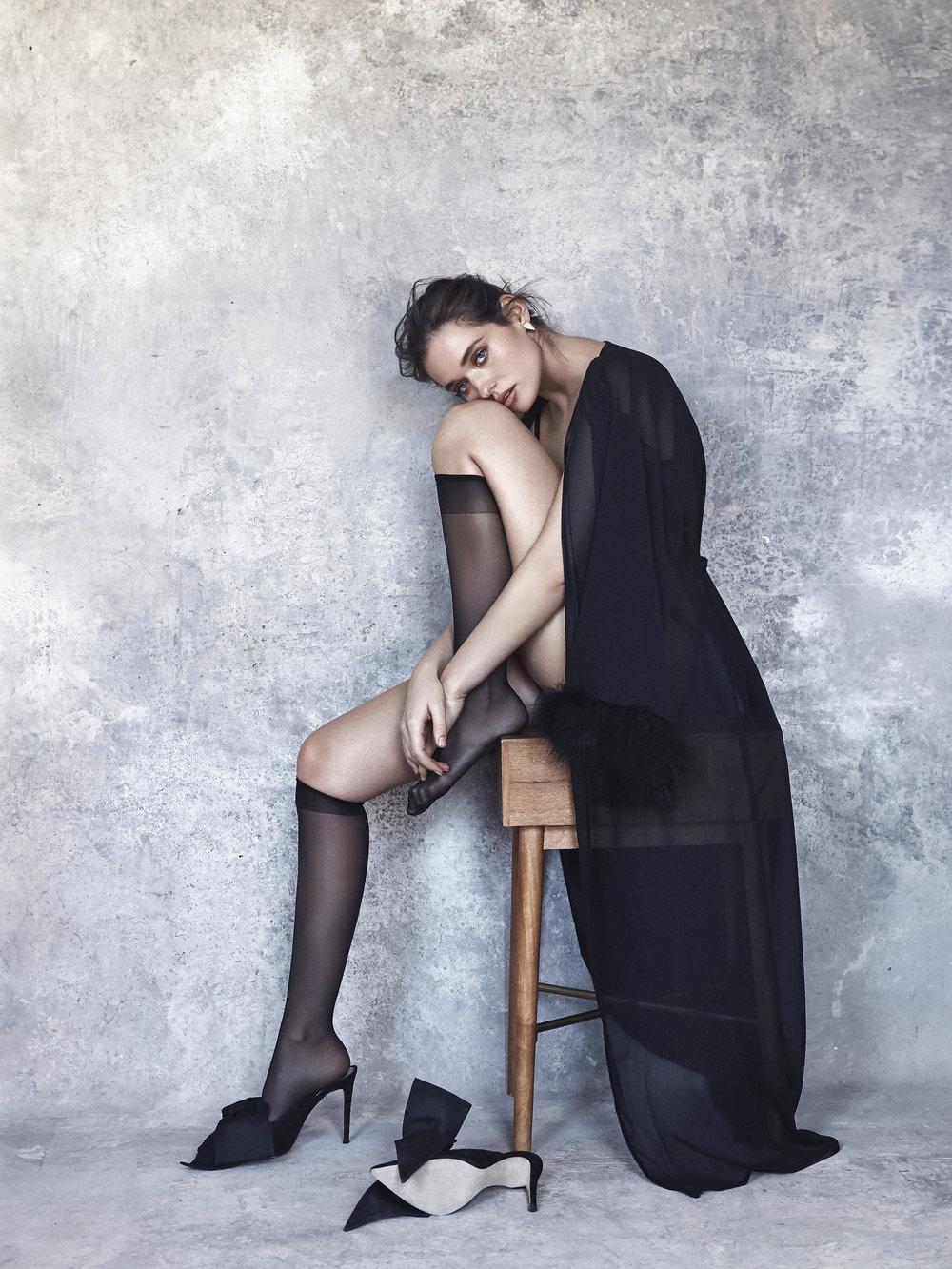 Sabine demi bra and thong in black.