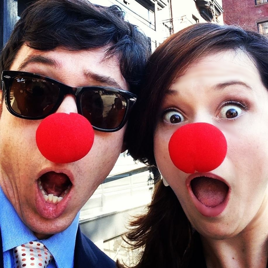 Clowning around with the hubs at a Boston wedding.