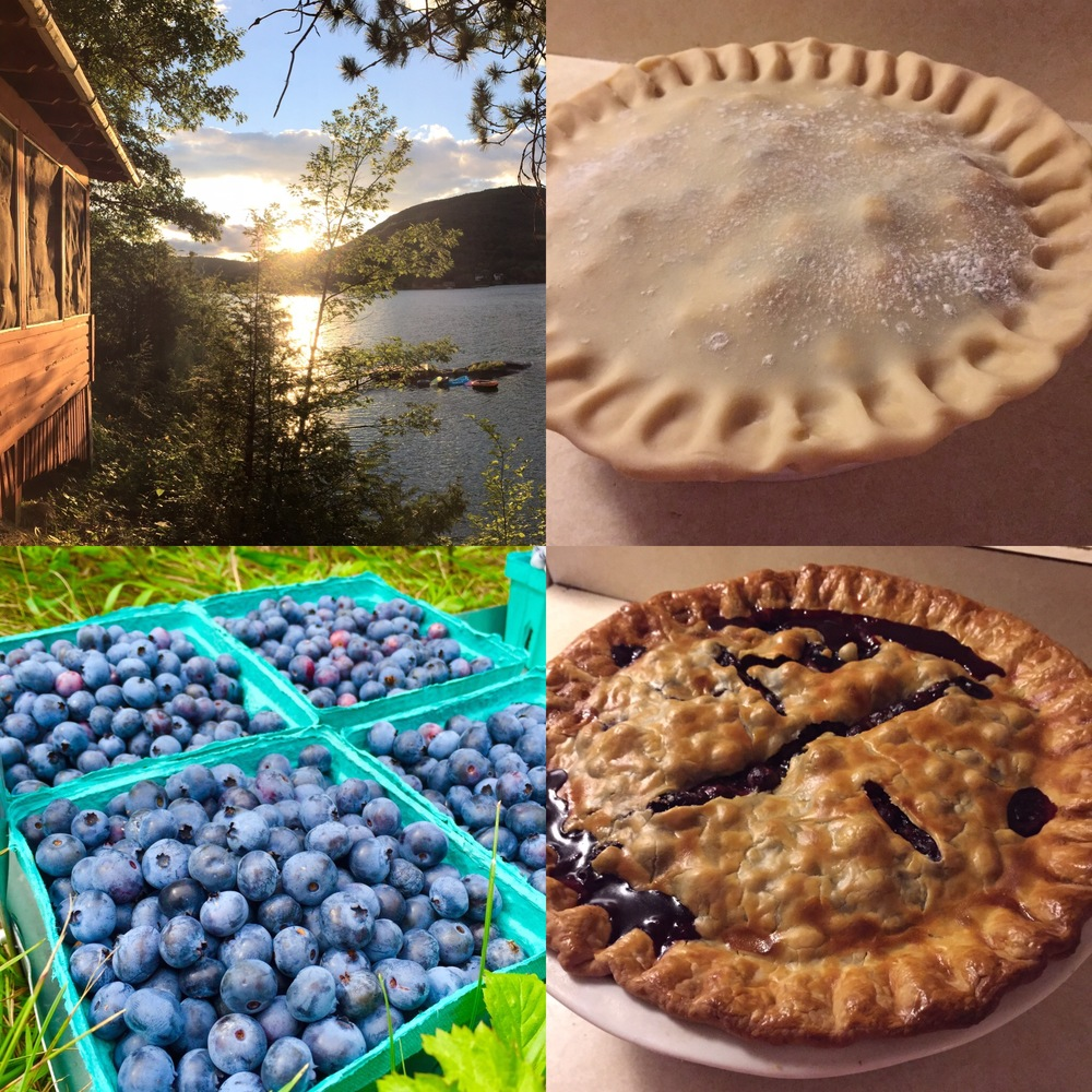 Lake George blueberry picking and pie-making.
