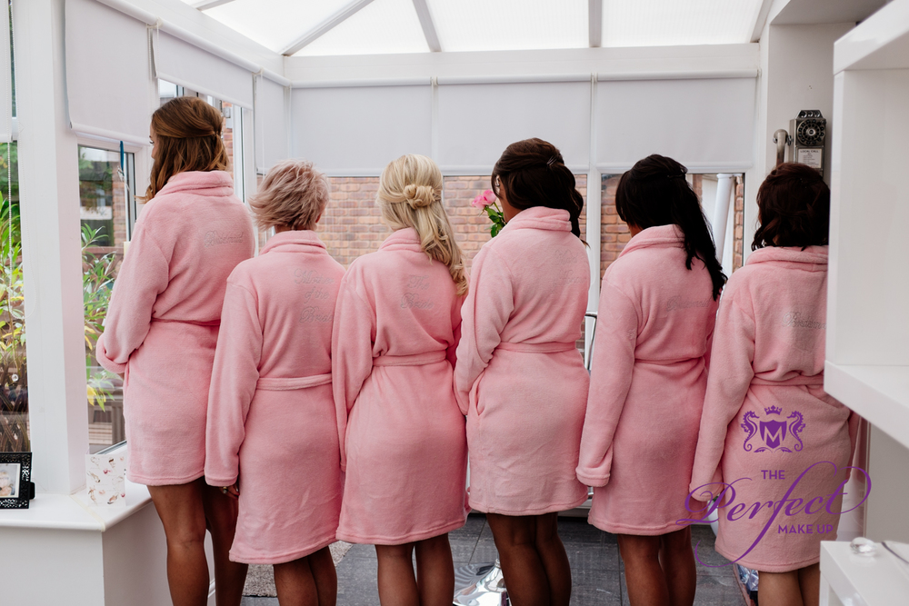 All the girls in their pink robes
