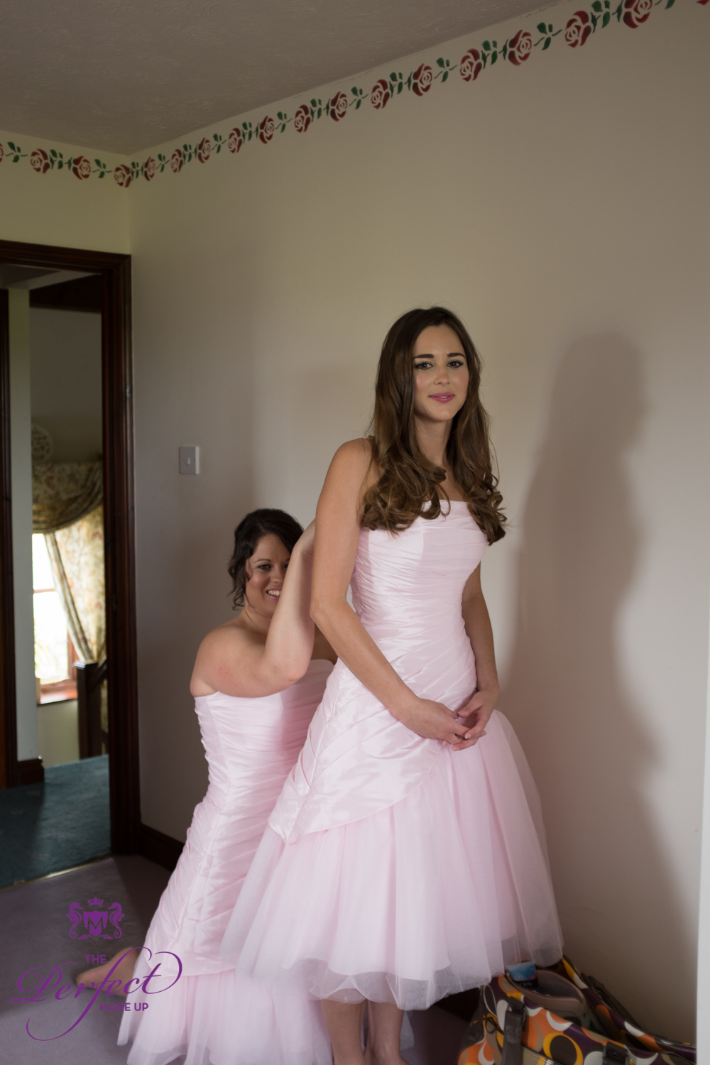 Bridesmaids went to school with Holly. The girls wore girly pink dresses from Ebony Rose.