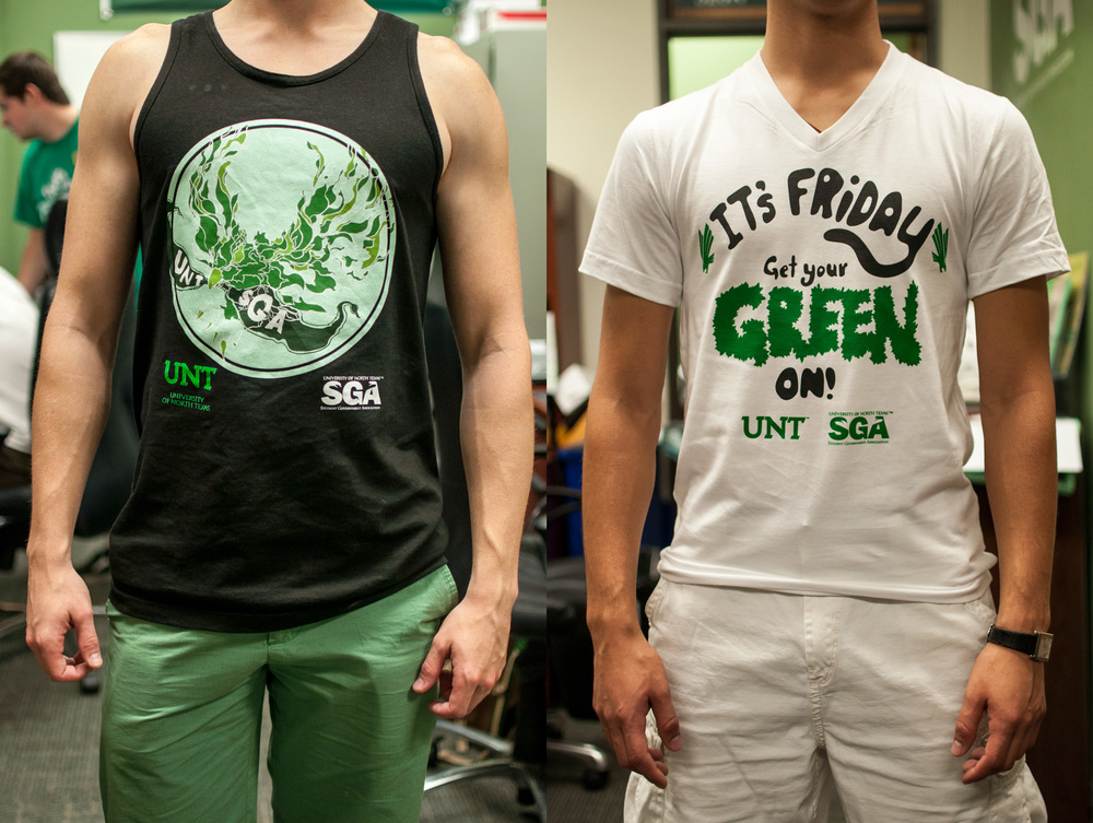 Two of the apparel pieces designed for UNT's Student Government Association. (Me on the left, the then-president on the right.)