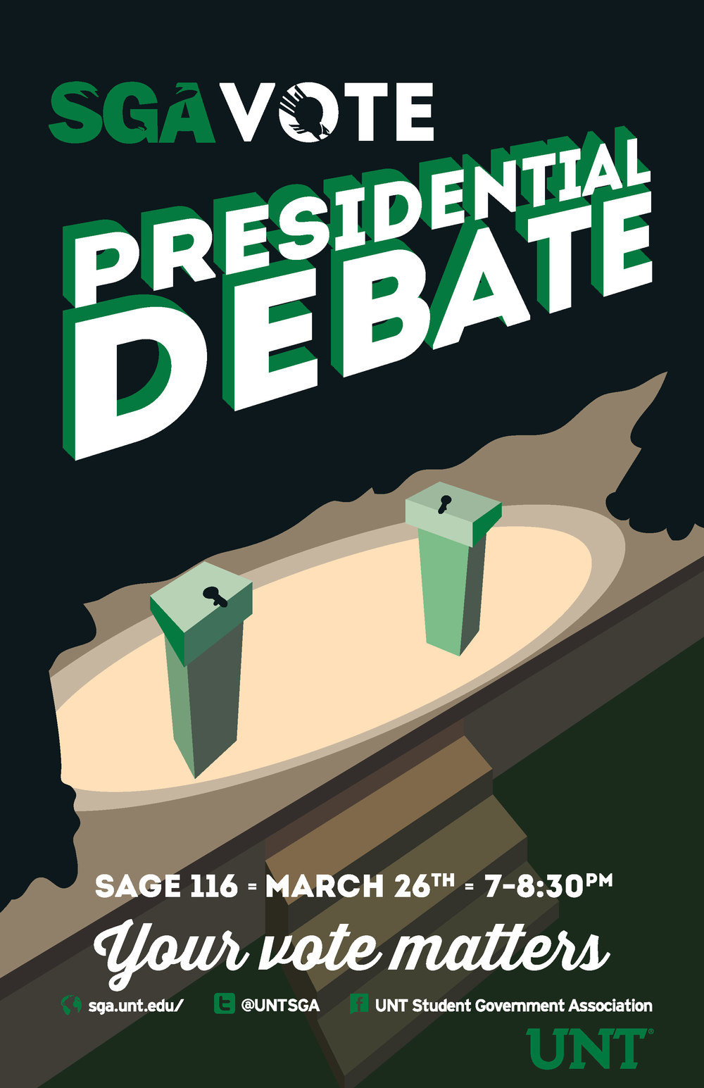 One of the many posters designed and produced for the student government's campaign to get students to participate in the student government elections.   The presidential debate was telecast in front of a student audience and moderated by UNT's debate organization.