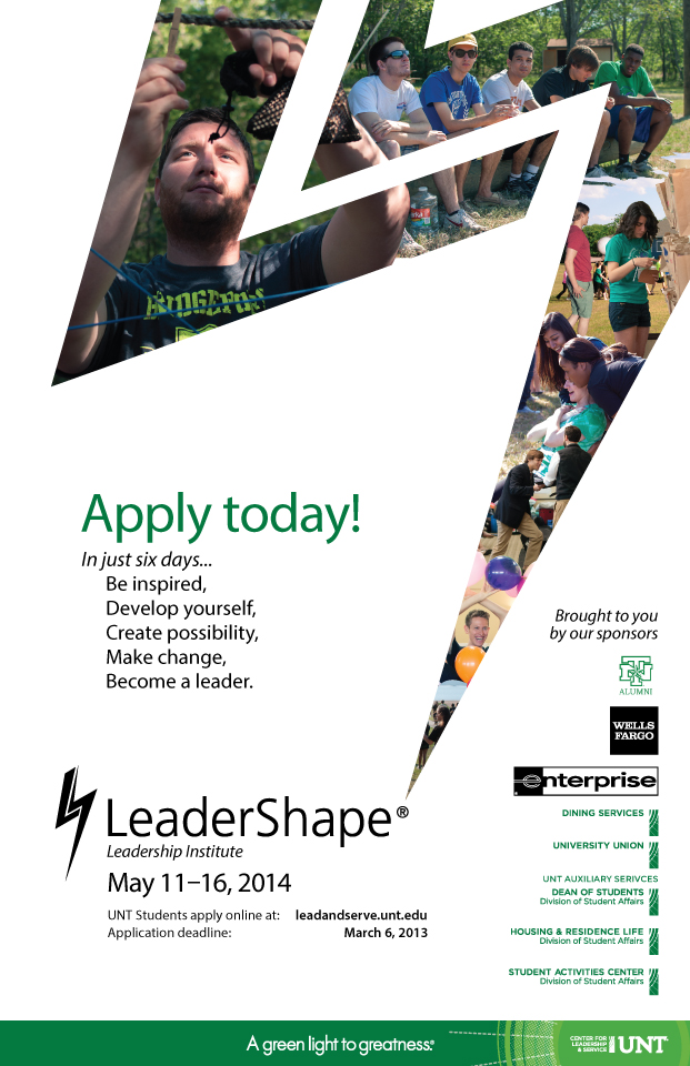 Poster designed for the LeaderShape program. Photography was pulled from personal archives while at the previous retreat.