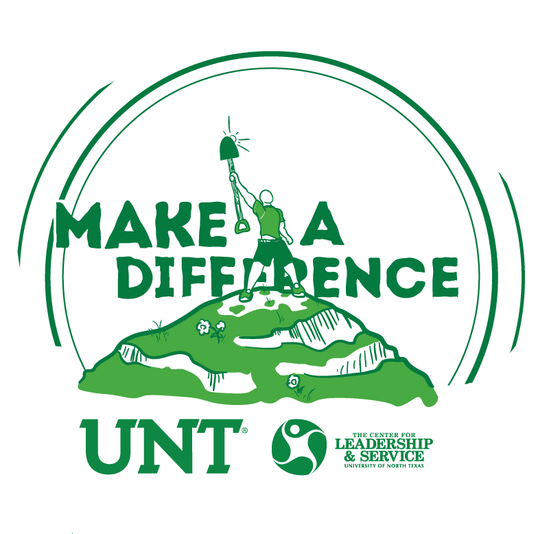 """The main design for the Center for Leadership & Service's """"Make A Difference"""" program. This version was printed on t-shirts for students to wear during the program."""