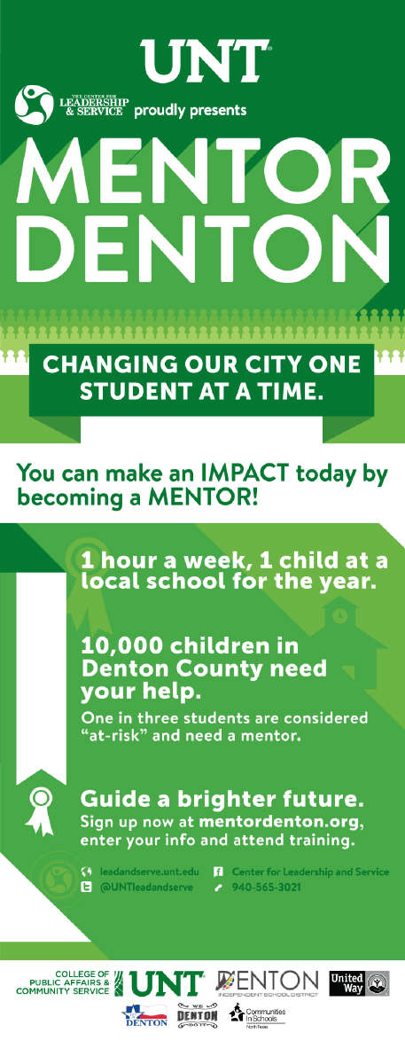 Pop-up banner designed to advertise Mentor Denton, a new program started at the department. The copy was created between the department head and I.