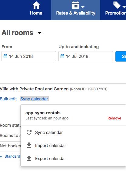 segundo paso para sincronizar Booking