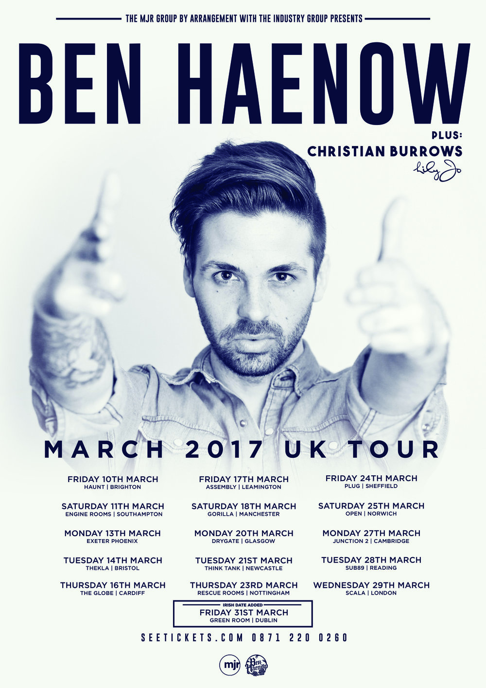 Catch me on my first UK tour supporting Ben Haenow. For tickets click here:    https://www.ents24.com/uk/tour-dates/lily-jo