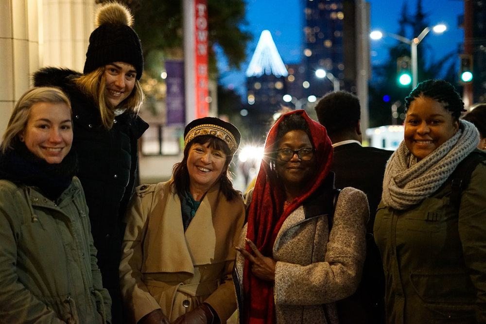 Dr. Val Hunt and her students from Seattle Central's Professional Ethics class, first in line for Angela Davis