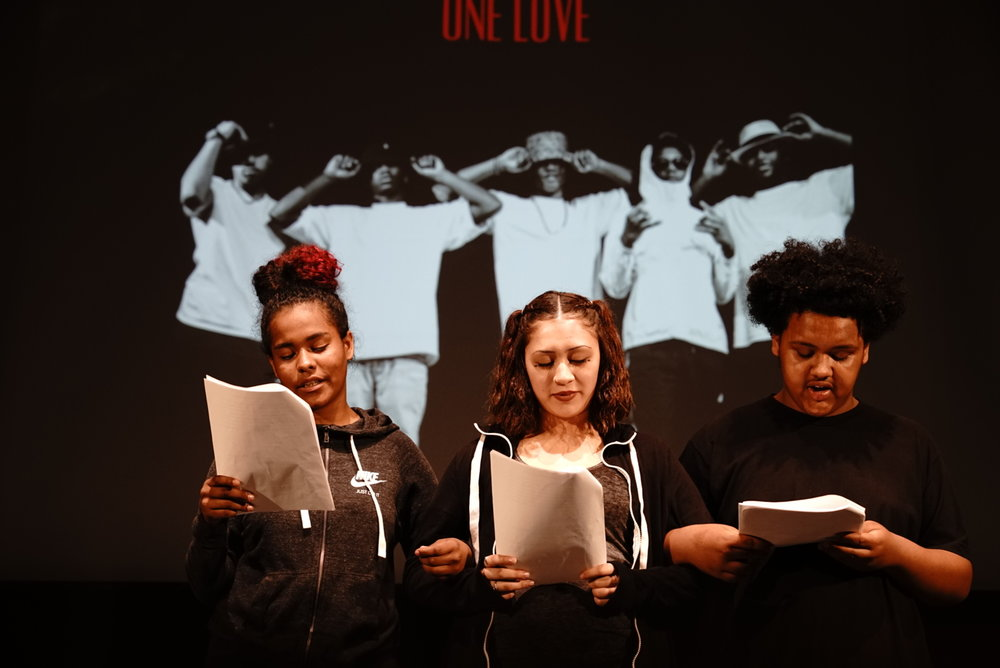 Members of Creative Justice perform a play based on their experiences with incarceration.