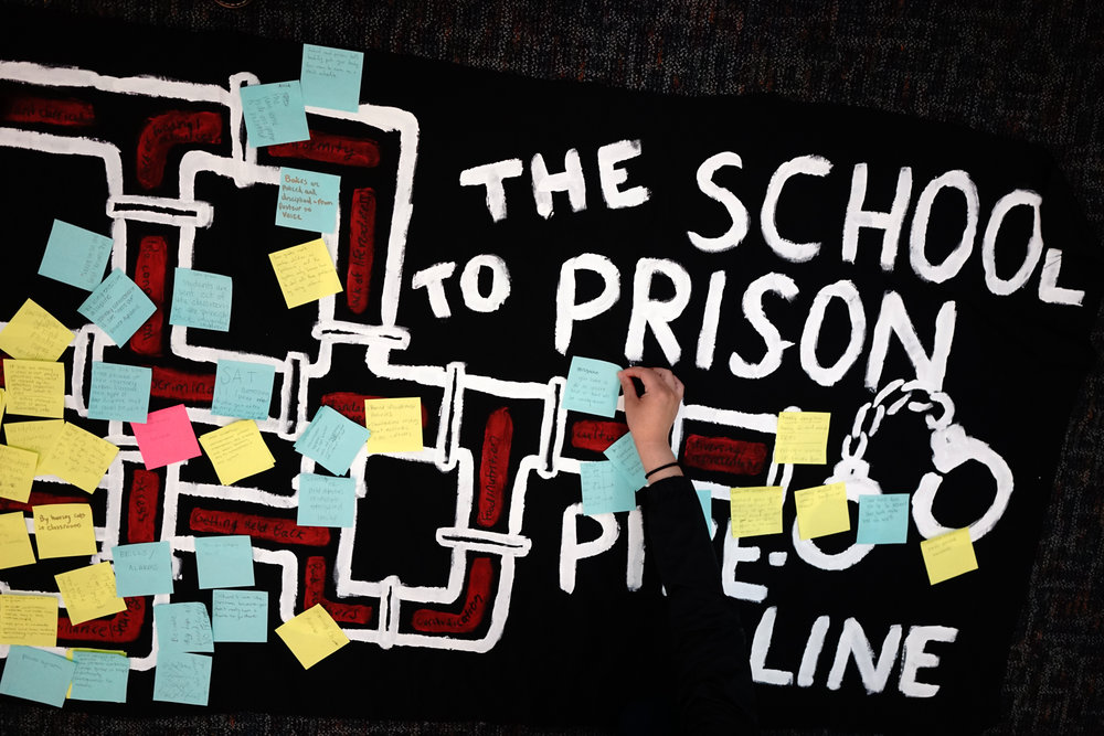 Young attendees of the Tyree Scott Freedom School workshop their thoughts on the school-to-prison pipeline.
