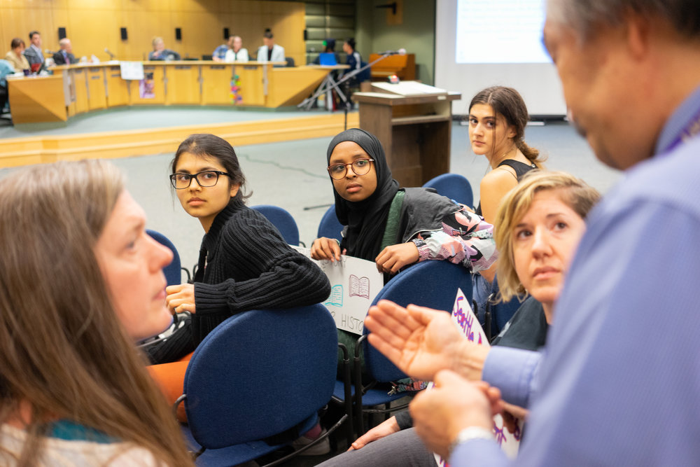 Members of the NAACP youth coalition and Native youth testify at a Seattle Public School Board meeting on May 9th, 2018 in Seattle, Wash.