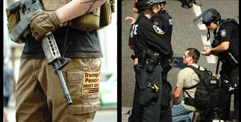 An armed anti fascist (right) & an injured Trump supporter (left) attend the far-right rally being called 'Liberty or Death: Rally Against Left Wing Violence'