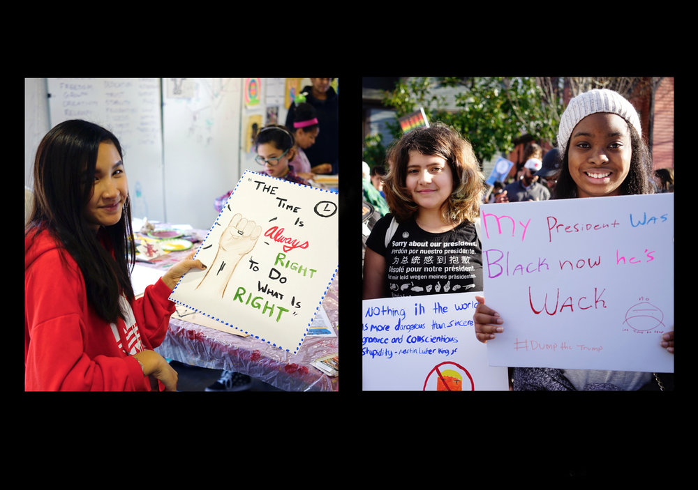 Middle school students create signs for the annual MLK march in Seattle