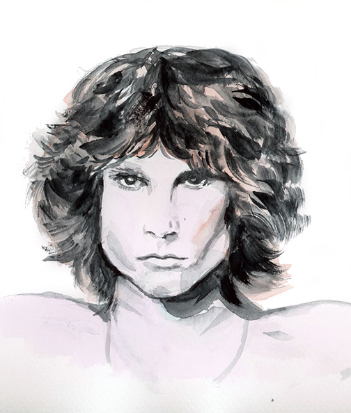 Jim Morrison Portrait Watercolour