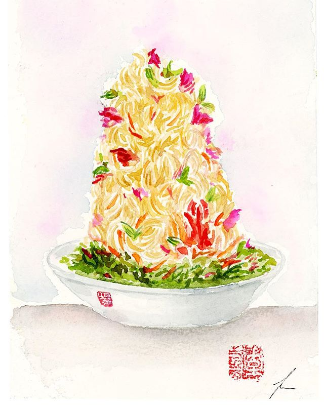 TBT: Last year I was part of a special private dining event at @lee_restaurant where I live drew illustrations of Chef Susur Lee's @susurlee famous Singaporean Slaw for the special guests at the event.