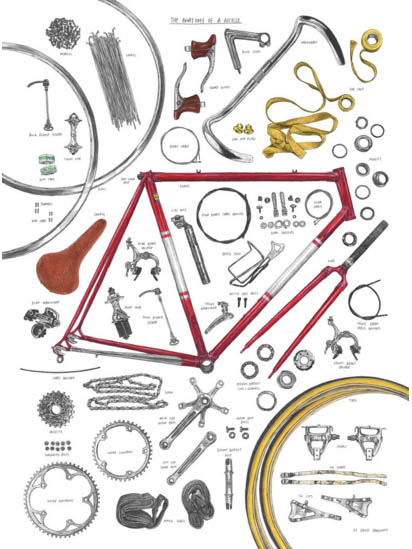 The Anatomy of a Bicycle Print by David Sparshott — London Velo