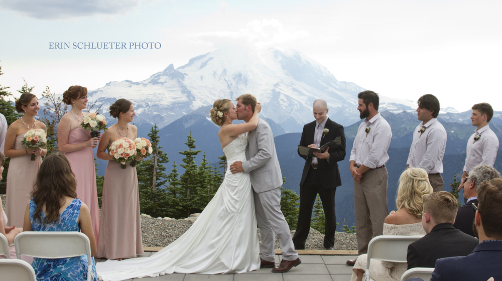 Their beautiful ceremony with Mount Rainier in the background