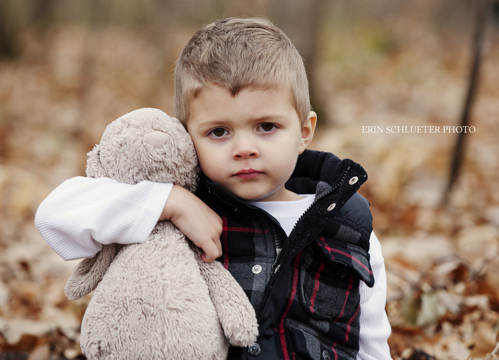 Beckett brought one of his favorite toys, Bunny, to our Fall MiniSession. I always recommend bringing a few favorite toys to Children's Photography Sessions, as they help to personalize the photos.
