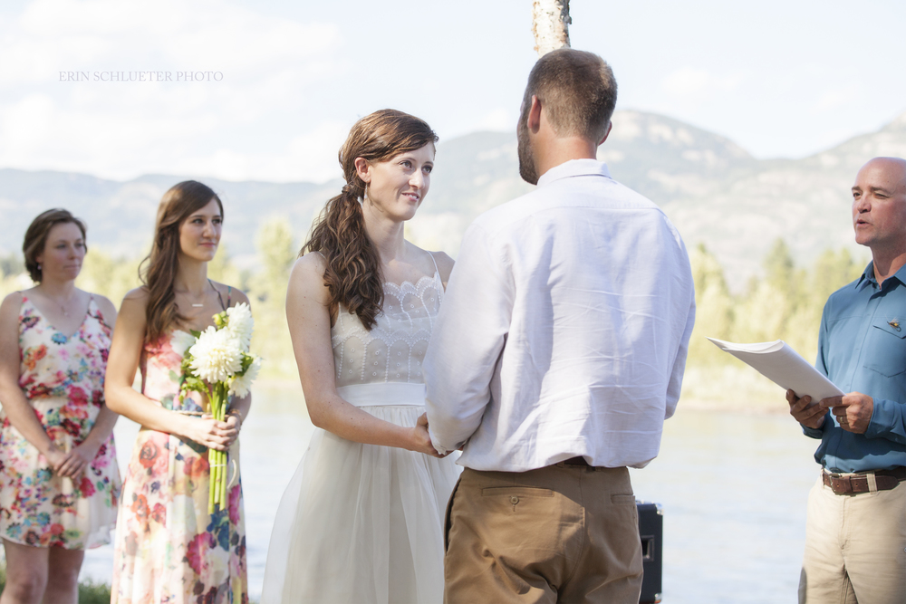 Tyler and Samantha exchanged vows at River's Edge Park, overlooking the flathead river during their beautiful outdoor wedding.