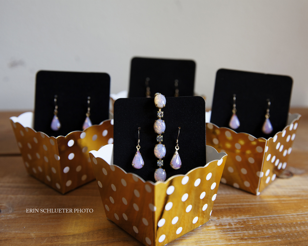 The bride picked out this beautiful jewelry for her bridesmaids to wear. How cute are the polka dot gift boxes?