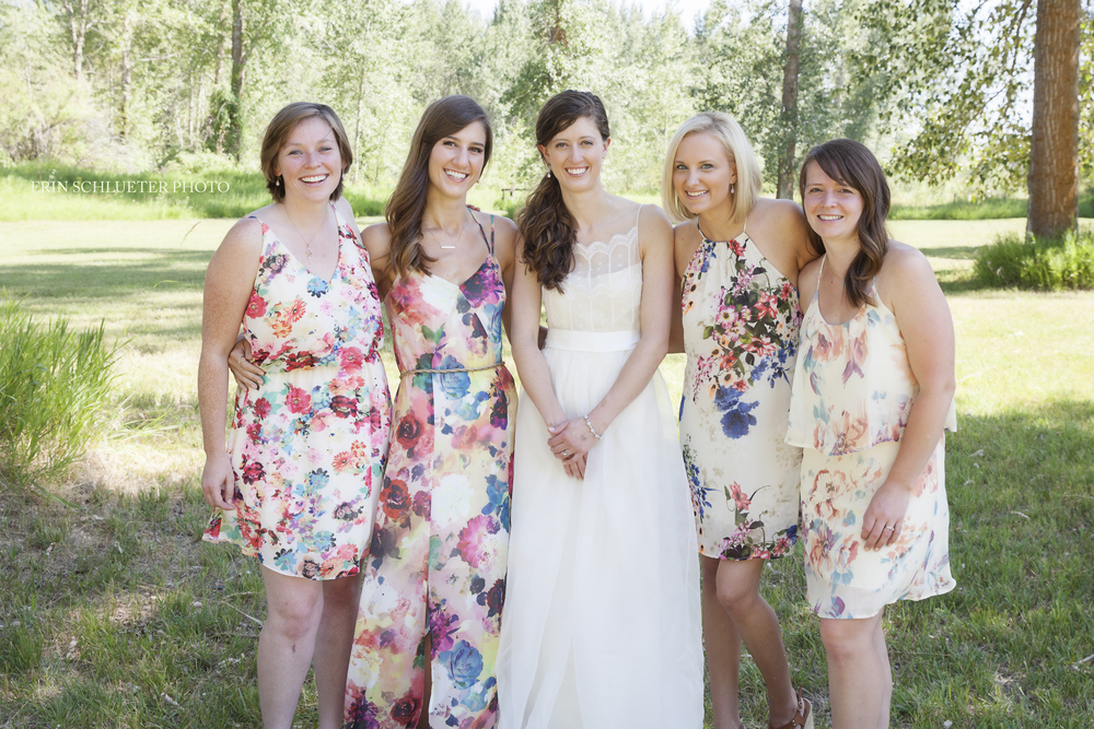 Notice how the bridesmaid dresses coordinate instead of matching - don't they look stunning?