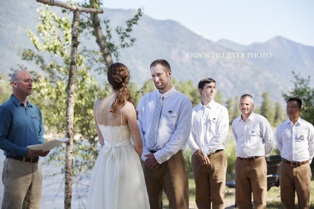 The bride and groom said their vows overlooking the Flathead River.